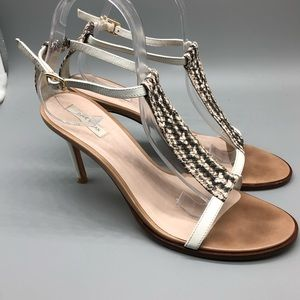 Cole Haan ankle snakeskin t-strap heeled sandals